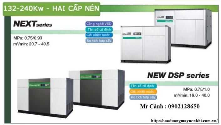 Các máy nén khí Hiatachi trục vít không dầu công suất lớn từ 132-240Kw