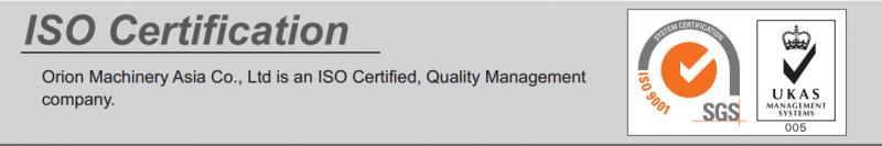 Các sản phẩm máy sấy khí của Orion được sản xuất theo tiêu chuẩn chất lượng ISO 9001
